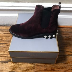 Burgundy Velvet booties